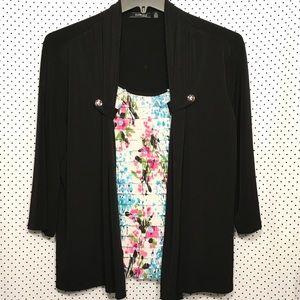 Elementz Woman Black Floral 3/4 Sleeve Blouse
